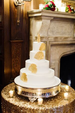 White Buttercream Wedding Cake with Gold Fans