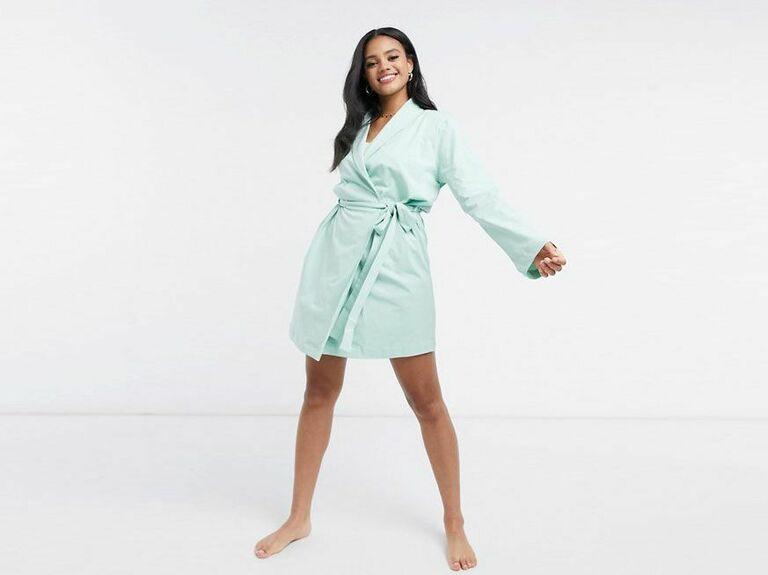 Jersey cotton blue robe