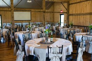 White Barn Reception With Burlap Accents