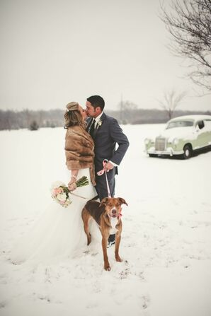 Wedding Dog With Pink Bow Tie