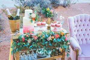 Colorful Dessert Table with Green Garland