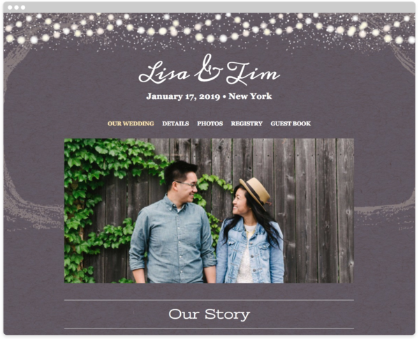 Garden Lights Wedding Website Template, The Knot