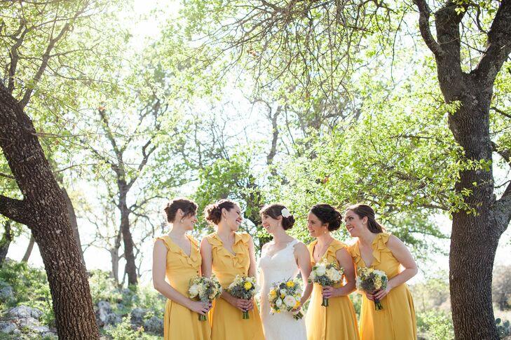 Yellow, Ruffled Bridesmaid Dresses