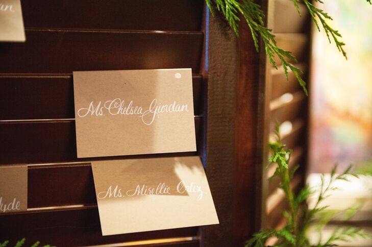 Shabby Chic Brown Paper Escort Cards