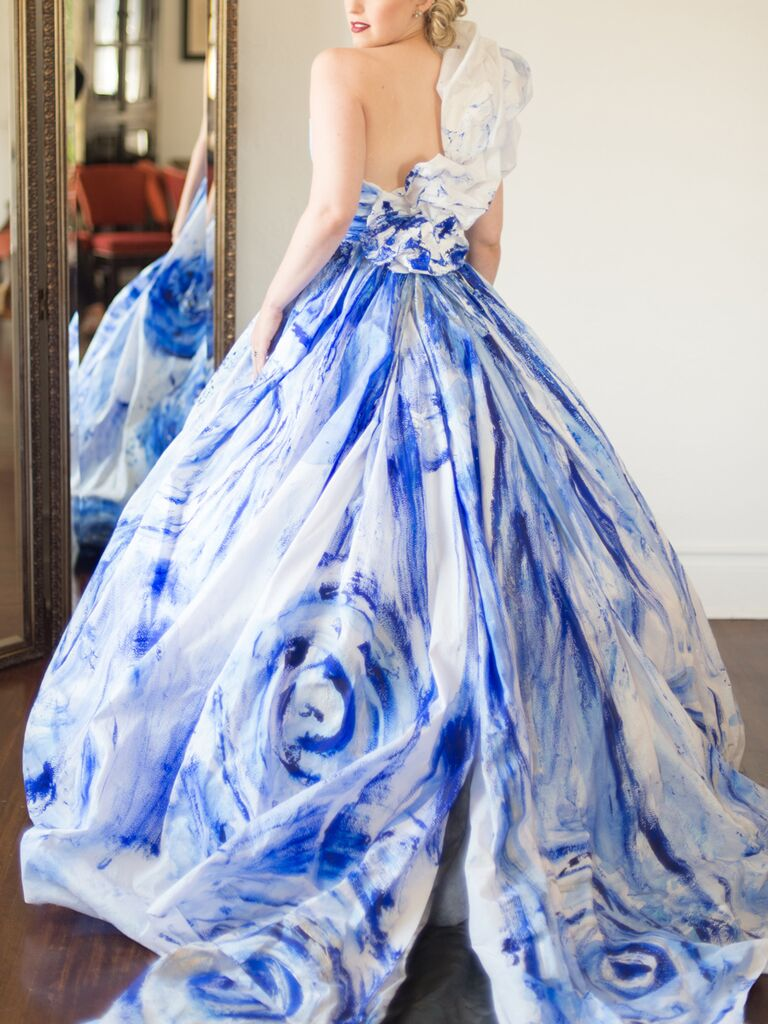 Rminé​ ball gown wedding dress with blue handpainted details