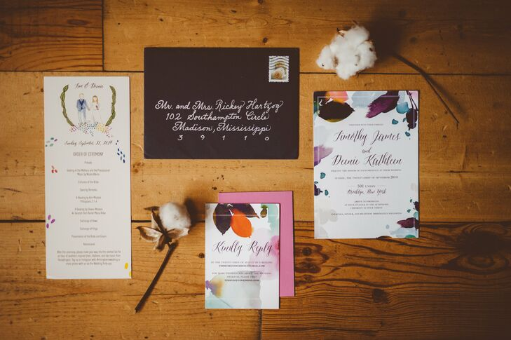 Watercolor florals added a beautiful, elegant touch to the invitation suite.