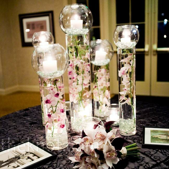 Pink Orchid Centerpieces Favorite The Card Table Also Had Large Gl Cylinder Vases With Dendrobium Orchids Submerged In Water