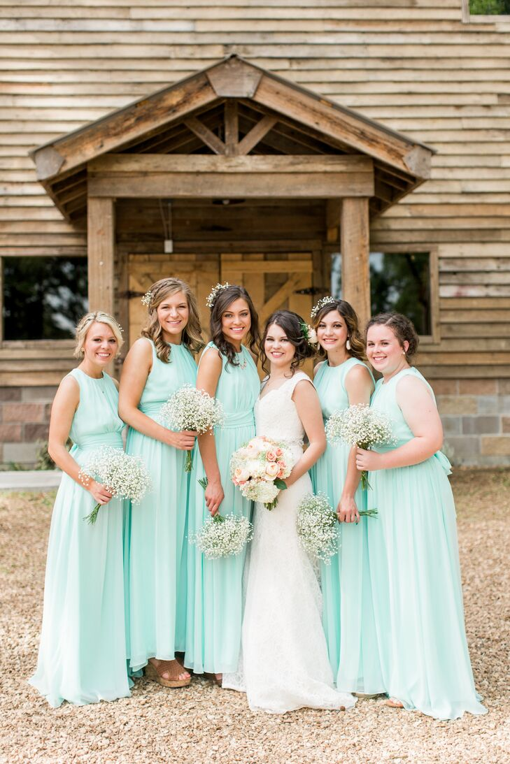 045c2bbe23c2 Floor-Length Turquoise Bridesmaid Dresses