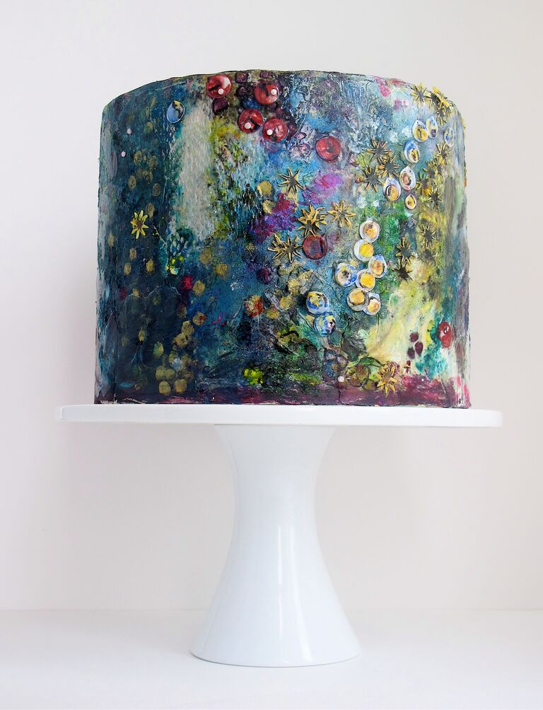 "One-tier bridal shower cake with watercolor frosting inspired by Claude Monet ""Water Lillies"""