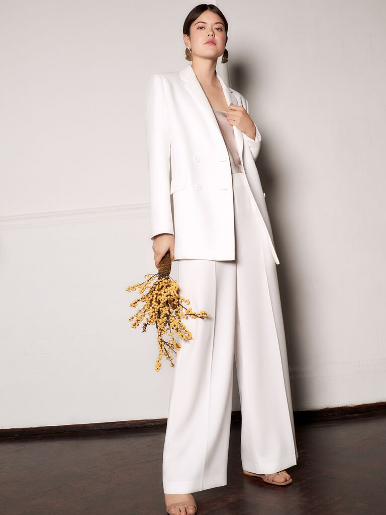 Whistles Wedding 2019 Bridal Collection wedding pant suit with wide-leg pants and simple white jacket