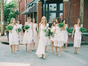 Bridesmaids in White Dresses with Green Bouquets