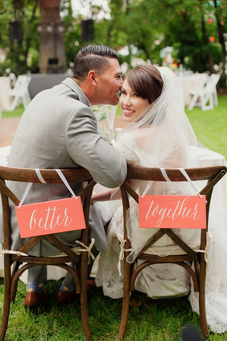 'Better Together' Coral Wedding Chair Signs