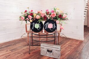 Sweetheart Table with Pink Flowers, Modern Signs and Boombox