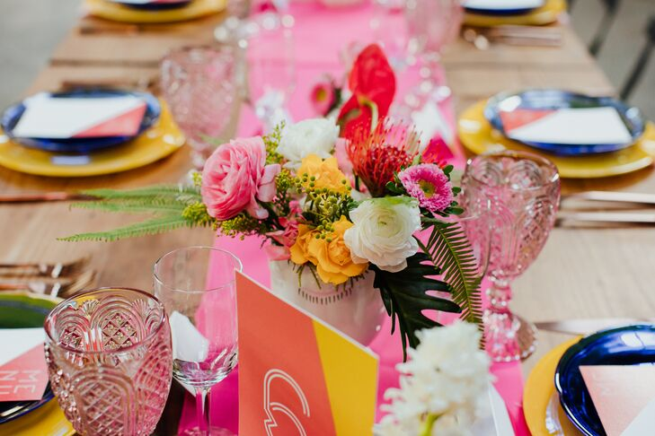 Colorful Centerpieces with Pink Table Runner