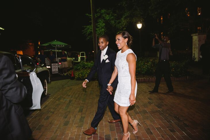 Modern African-American Couple in Modern Attire Exiting Reception