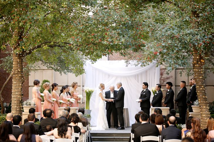 Chloe and David had a traditional, modern ceremony in the courtyard garden of Rosewood Crescent Hotel in Dallas, Texas. The French architecture added a romantic feel to the atmosphere.