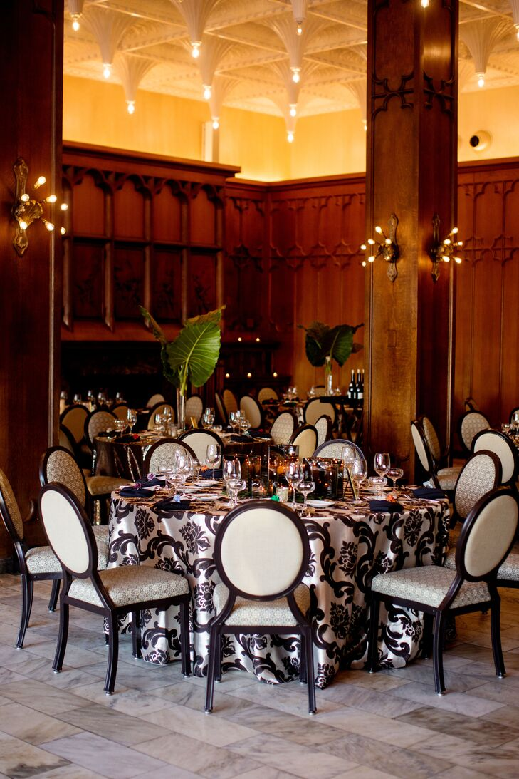 The White City Ballroom features multiple fireplaces, vintage stained-glass windows and 151 plaster stalactite embellishments with individual filament bulbs, casting a warm glow on the room.