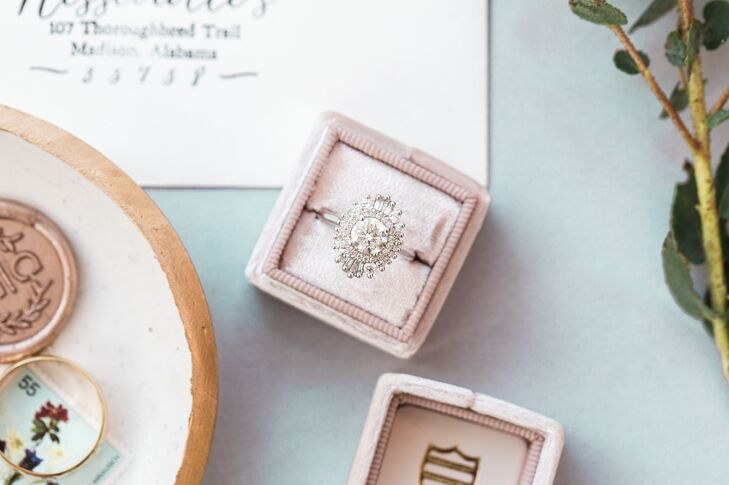 Vintage-Inspired Celestial Halo Engagement Ring