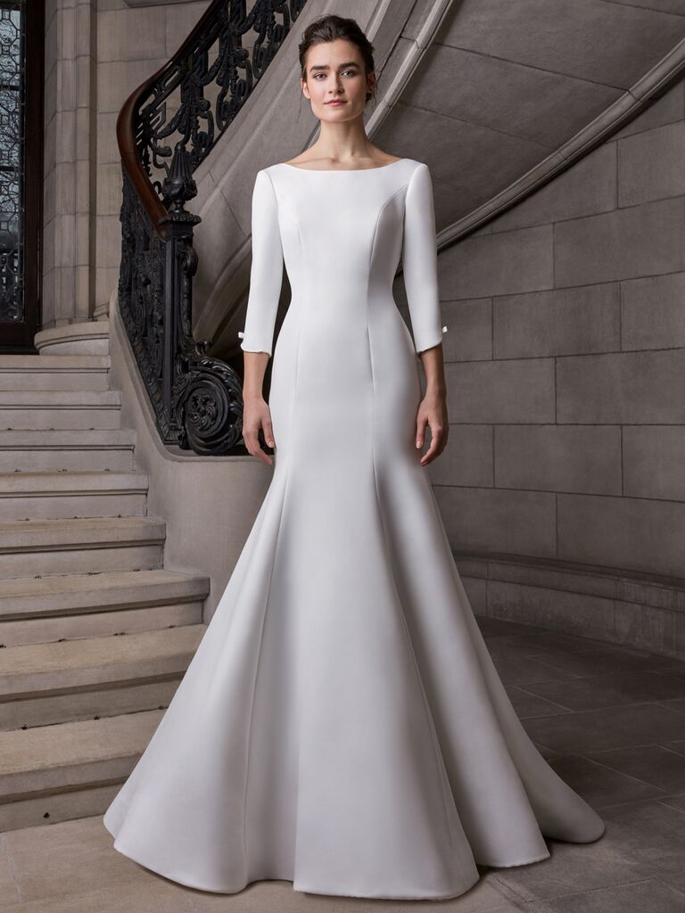 Sareh Nouri Spring 2020 Bridal Collection fit-and-flare wedding dress with three-quarter length sleeves