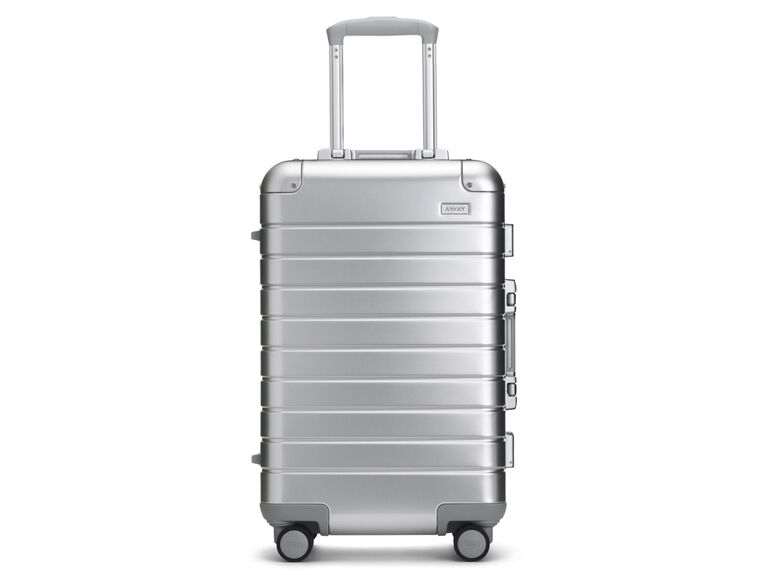 Away silver luggage 25th anniversary gift for couple