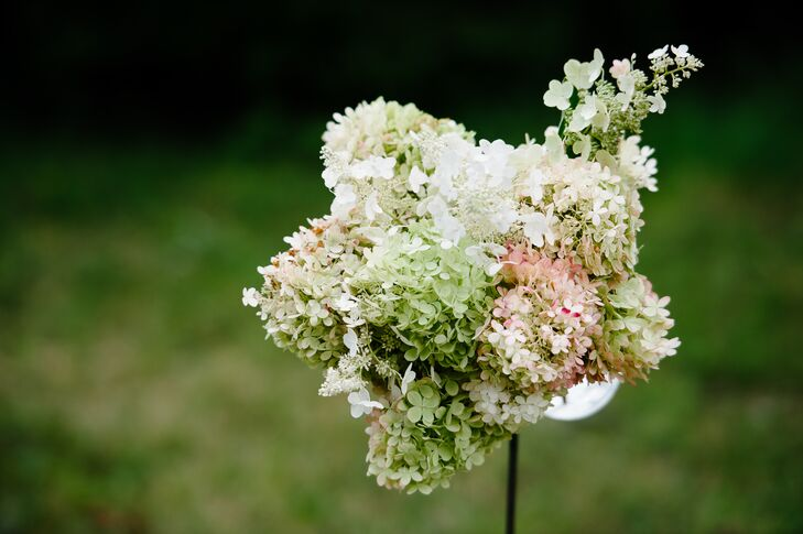 Ivory, Green and Pink Hydrangea Ceremony Arrangements