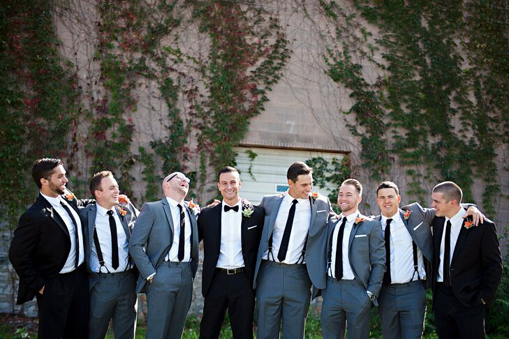 The groomsmen wore gray suits from Bachrach. They completed their look with thin black ties, white pocket squares and black-and-white checkered socks. Chance wore a perfectly tailored Hugo Boss slim fit black suit from Nordstrom with a white button down. He also wore black Cole Haan Shoes, a white linen pocket square and black and white check socks from Sock 101.