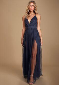 Lulus Rare Beauty Navy Blue Backless Maxi Dress V-Neck Bridesmaid Dress