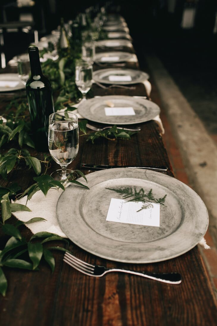 Industrial Place Settings with Natural Greenery