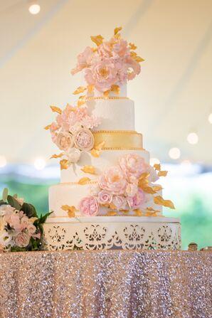 Blush Sugar Flowers on Luxe Wedding Cake