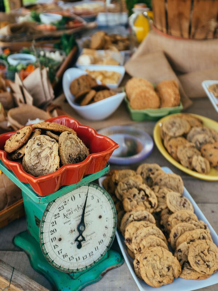 Wedding Dessert Table With Piles of Chocolate Chip Cookies