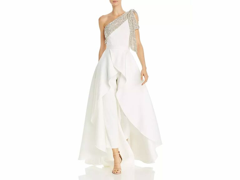 bridal jumpsuit with skirt overlay