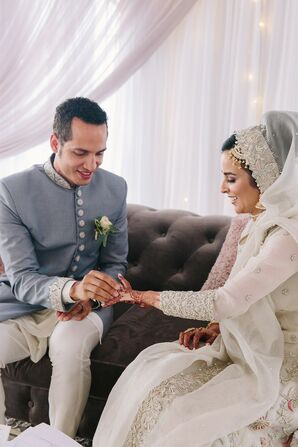 Elegant Bride and Groom During Muslim Mangni (Ring Exchange Tradition)