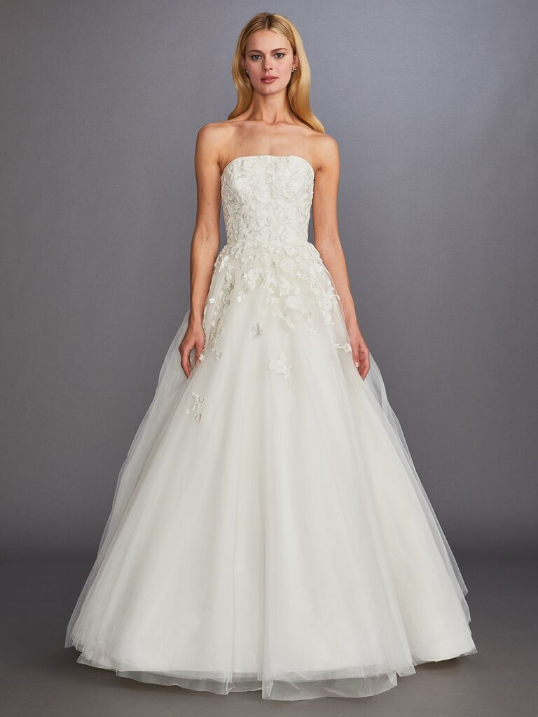 Allison Webb Fall 2019 Bridal Collection A-line strapless lace and tulle wedding dress