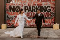 """Madison and Tim wanted, """"a dark, moody and intimate vibe,"""" for their wedding at Front and Palmer in Philadelphia, Pennsylvania. To bring their day to"""