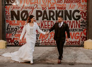 "Madison and Tim wanted, ""a dark, moody and intimate vibe,"" for their wedding at Front and Palmer in Philadelphia, Pennsylvania. To bring their day to"
