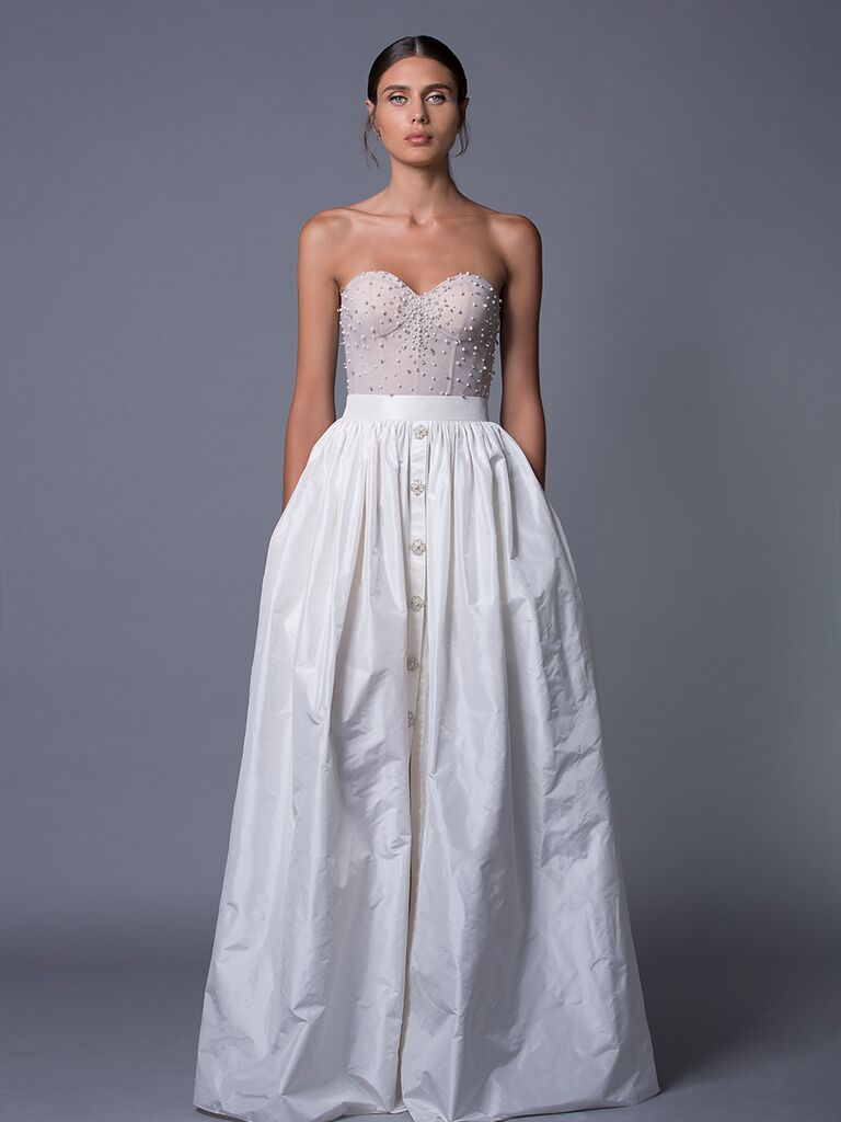 Lihi Hod 'Tia' corset top wedding dress with silk taffeta skirt with front button details for Fall 2017