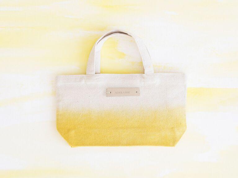 yellow dip dyed tote bag