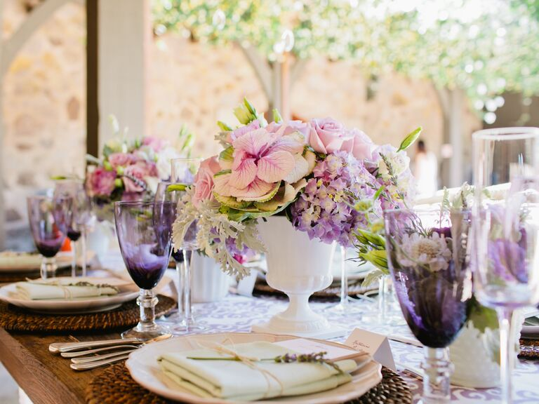 Nice Cocktail Engagement Party Ideas Part - 11: Pink And Purple Garden Bridal Shower Table Decor