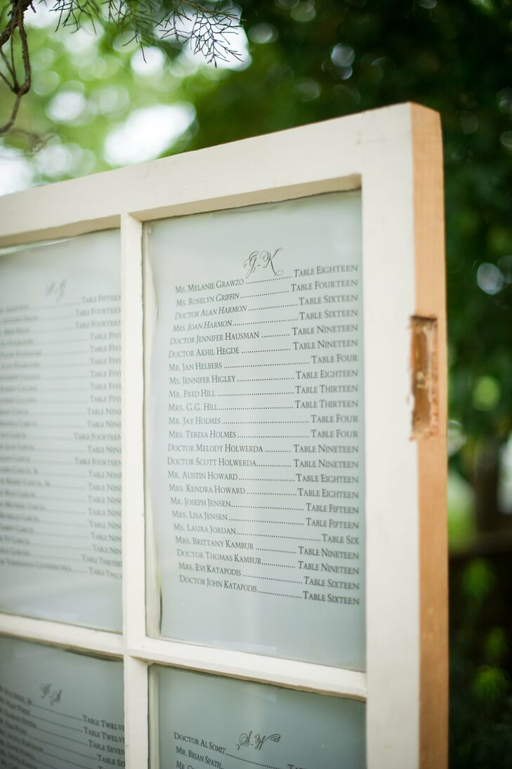 The Seating Chart Was Displayed In A Vintage Wooded Window Pane