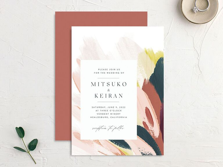Abstract fall wedding invitation