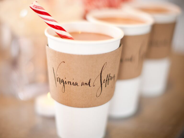 Hot Chocolate With Peppermint Stirrers And Calligraphed Sleeves