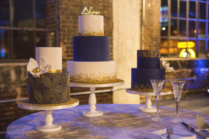 White, Navy and Gold Fondant Wedding Cakes