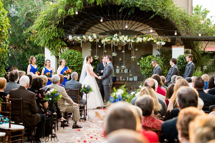 """Kathleen and Matt were married at the Stillwell House and Garden, which they chose for its lush courtyard and old architecture that matched the vintage atmosphere they wanted. """"Although we live in the desert, we didn't want this to be the prominent vibe for our wedding,"""" says Kathleen."""