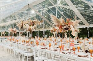 Elegant, Bohemian Tented Reception with String Lights and Tall Centerpieces