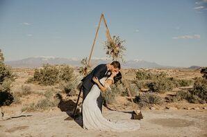 Rustic Desert Wedding with Triangular Wedding Arch