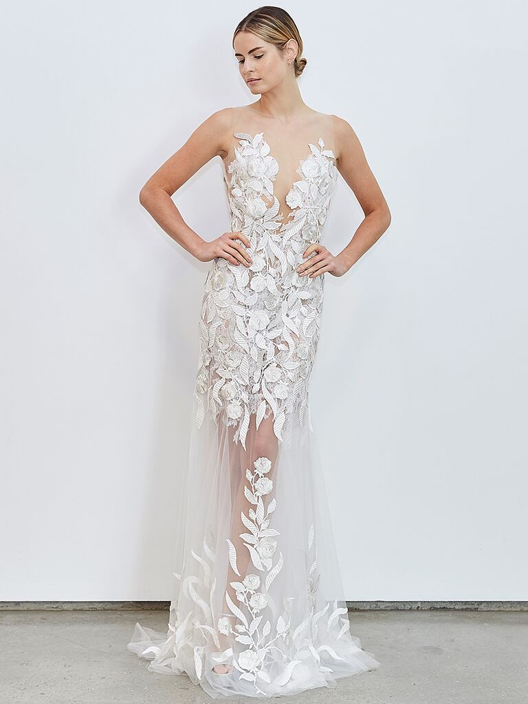 Francesca Miranda gown with illusion neck and sheer tulle skirt