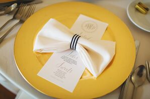 Gold Chargers with Striped Bow-Tied Linens