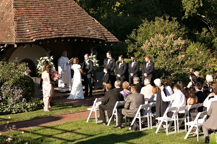 """The ceremony took place in the rose garden at The Waveny House, with Catherine and Todd exchanging vows surrounded by freshly bloomed roses and fluttering butterflies. """"It was our dream to be married outside and the weather turned out perfectly that day,"""" says Catherine. Catherine's childhood minister officiated the ceremony and the pair treated guests to refreshments as they arrived."""