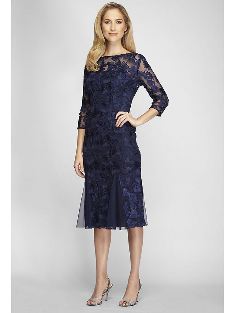 Embroidered navy midi dress with fit-and-flare skirt