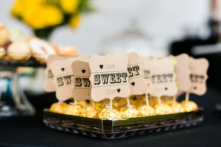 "The bride and groom sourced and made all of the cheese platters, small passed apps and created a dessert bar with desserts from Whole Foods.  ""It was so much less expensive than a formal cake and was a beautiful and yummy addition,"" the bride says."
